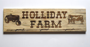 Farm Sign - Laser Engraved Wood - Family Name - Business Promotion - Child's Bedroom sign - Wedding Signs - Informational Signs - Key Holder - Cutting Edge Lazer