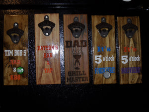 "Magnetic Bottle Opener - ""Dads Garage"" ...- Wooden Laser Engraved - Groomsman gift - Father's Day gift - Graduation Gift - Man Cave - Cutting Edge Lazer"