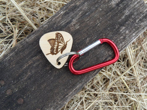 Engraved wooden guitar pick key chain - Butterfly - YOUR CHOICE - Cutting Edge Lazer