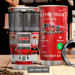 Fire Truck Is Calling Personalized Stainless Steel Tumbler - Healthy Snacks NZ