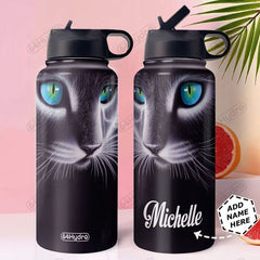 3D Cat Art Personalized Stainless Steel Bottle with Straw Lid - Healthy Snacks NZ