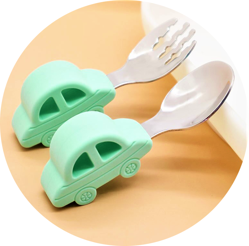 2pc Training Baby Utensils, Cutlery Set, Mint Green - Healthy Snacks NZ