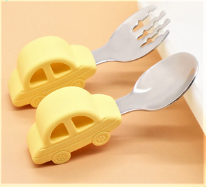 2pc Training Baby Utensils, Light Yellow - Healthy Snacks NZ