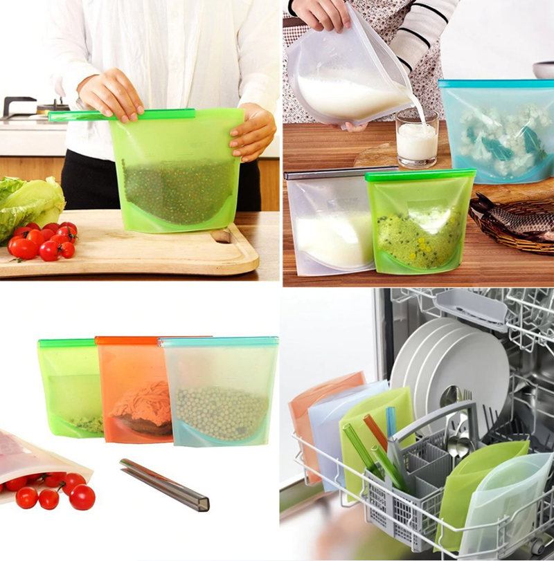 3pc Reusable Silicone Food Bags - Healthy Snacks NZ