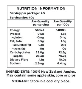 Healthy Snacks NZ - Dried New Zealand Apple Rings - Nutrition