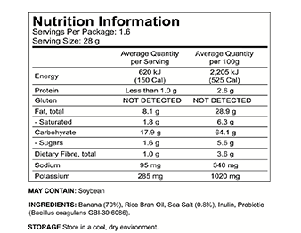 Banana Joe Chips, Sea Salt, Nutrition - Buy Online NZ - AfterPay - Healthy Snacks NZ