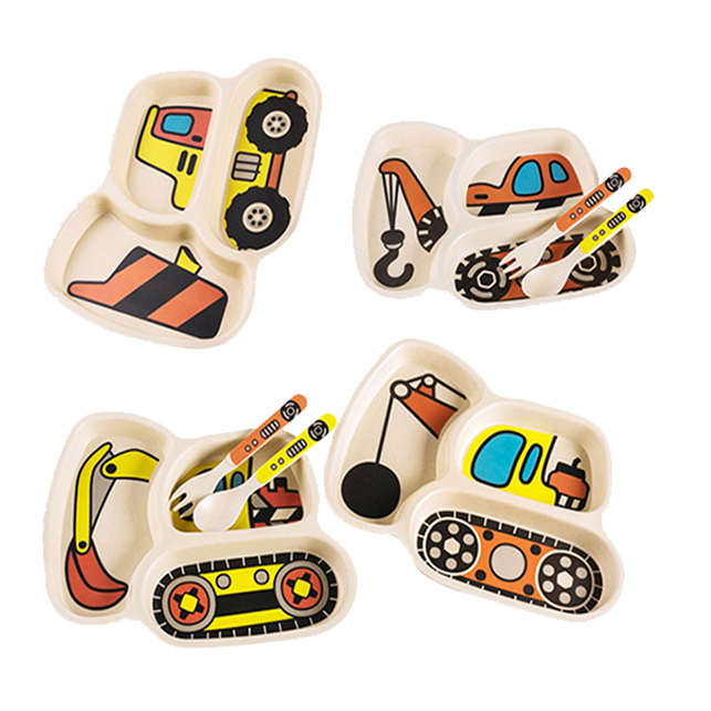 Construction Vehicle Kids Divided Plate Tableware - Healthy Snacks NZ