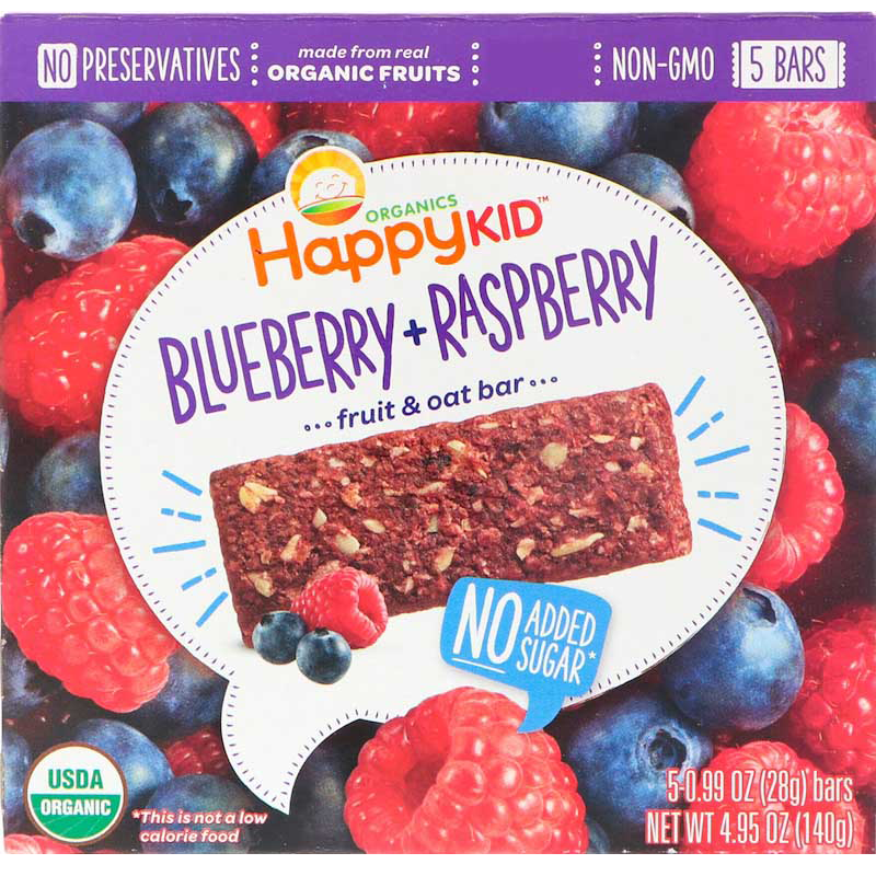 Happy Kid Organics, Fruit & Oat Bar, Blueberry & Raspberry. Nutritious snack for kids - Healthy Snacks NZ.