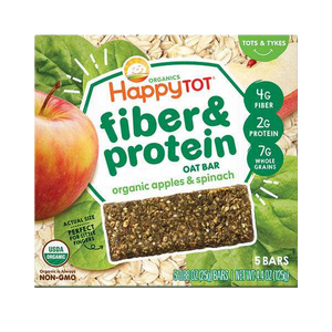 Happy Tot Organics, Fiber & Protein Soft-Baked Oat Bar, Apple & Spinach. Wholegrain, dairy-free, no sugar added. Snack for toddler. Healthy Snacks NZ.