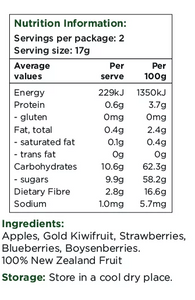 Healthy Snacks NZ - NZ Fruit Medley Freeze-dried - Nutrition