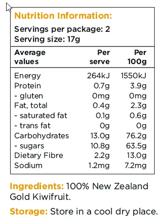 Healthy Snacks NZ - NZ Gold Kiwifruit Freeze-dried - Nutrition