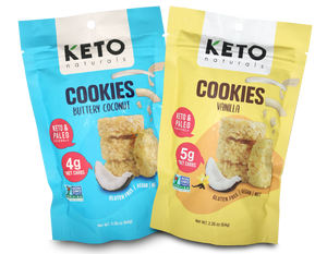 Keto Cookies, Vanilla/Buttery Coconut, 64g - Healthy Snacks NZ