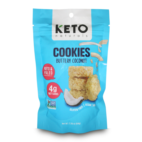 Keto Cookies, Buttery Coconut, 64g - Healthy Snacks NZ