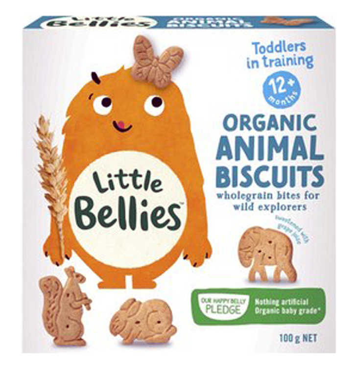 Little Bellies, Animal Biscuits. No sugar added, all natural, organic. New Packaging. Healthy Snacks NZ.