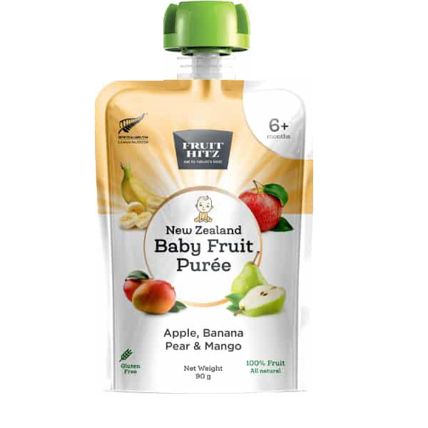 New Zealand Baby Fruit Puree, Apple, Banana, Pear & Mango - Healthy Snacks NZ