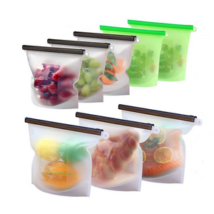 3pc Reusable Silicone Food Zip Bags - Healthy Snacks NZ