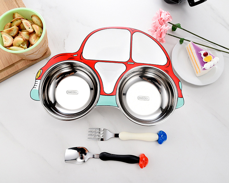 Stainless Steel Kids Divided Plate - Car Bowl- Healthy Snacks NZ - Buy Online