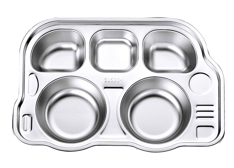 Stainless Steel Kids Divided Plate - Bus - Healthy Snacks NZ