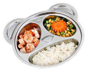 Stainless Steel Kids Divided Plate - Panda - Healthy Snacks NZ - Shop Online