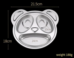 Stainless Steel Kids Divided Plate - Panda Size - Healthy Snacks NZ - Fast Shipping