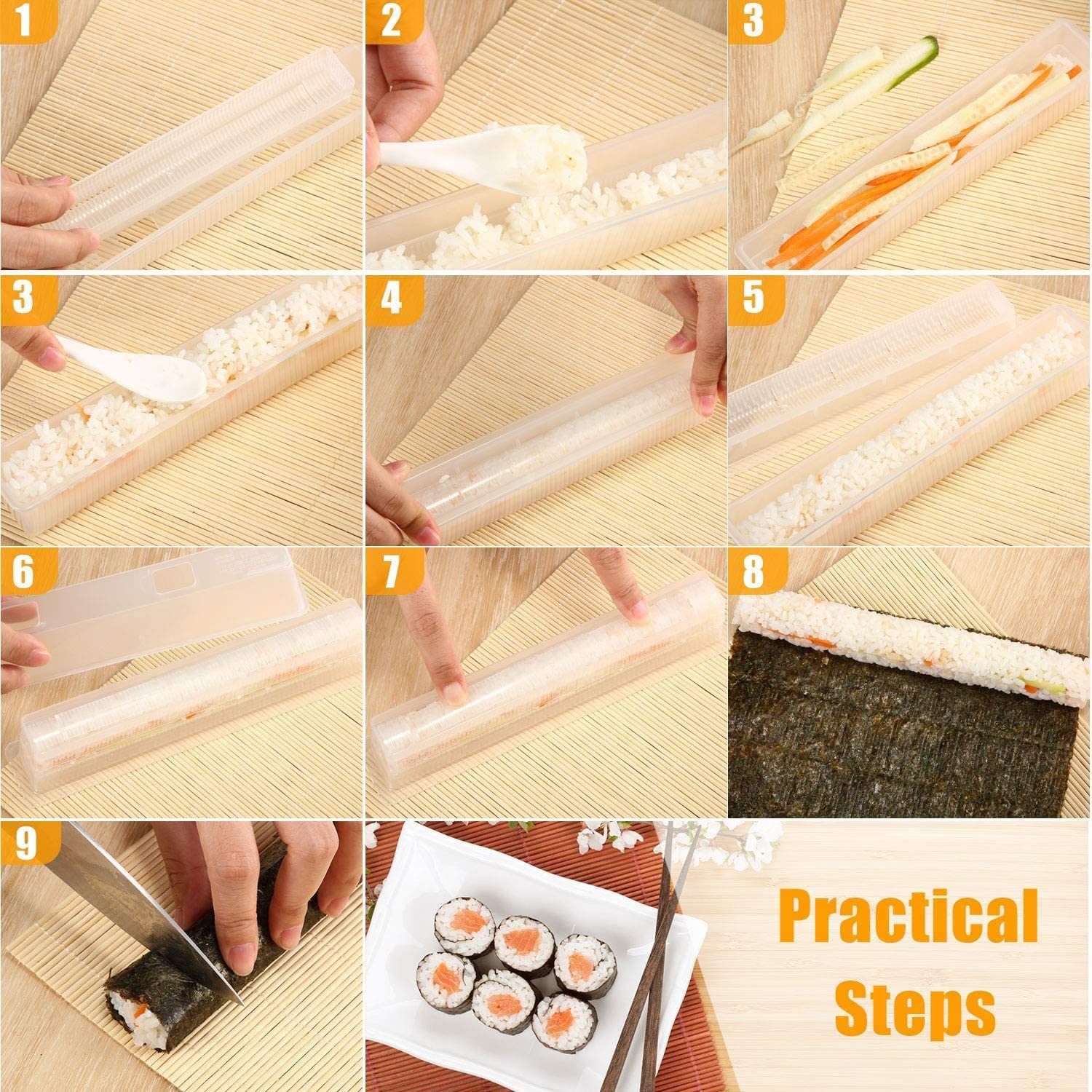 Simple Sushi Mould Thin Roll - Healthy Snacks NZ - Practical Steps/Instruction