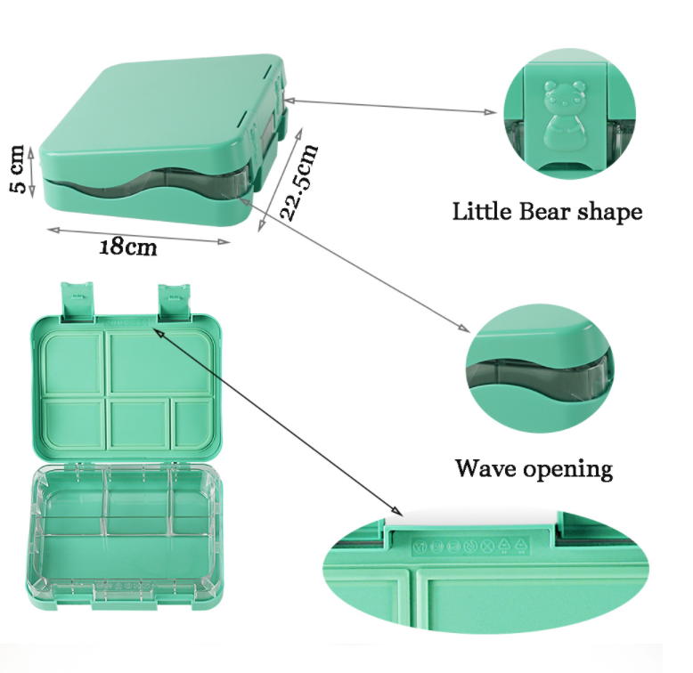 Ultimate Leakproof Convertible Bento 5 Lunchbox – Light Green  - Healthy Snacks NZ