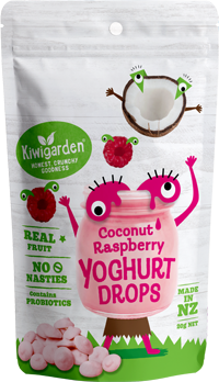 Kiwigarden, Coconut & Raspberry Yoghurt Drops, 20g. Healthy Snacks NZ.