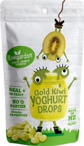 Kiwigarden, Gold Kiwifruit Yoghurt Drops, 20g. Healthy Snacks NZ.