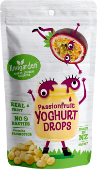 Kiwigarden, Passionfruit Yoghurt Drops, 20g. Healthy Snacks NZ.