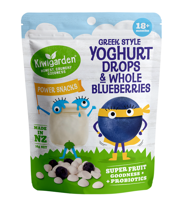 Kiwigarden, Greek-Style Yoghurt & Blueberries. Freeze-dried snack. Easy, convenient, nutritious, toddler & kids snack.
