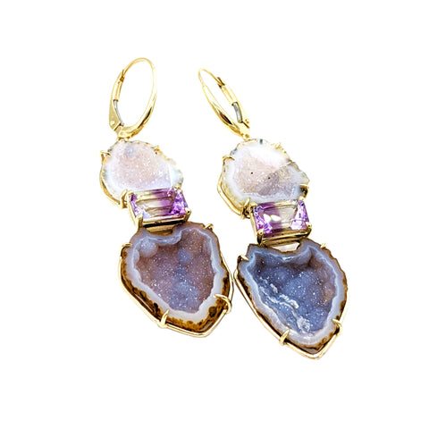 Amethyst Geode Drop Earrings