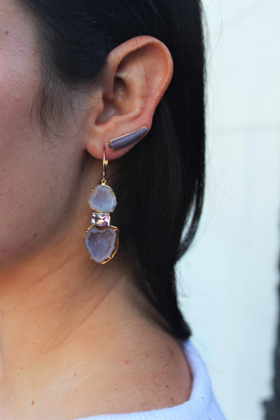 Carved Gemstone Ear Climbers