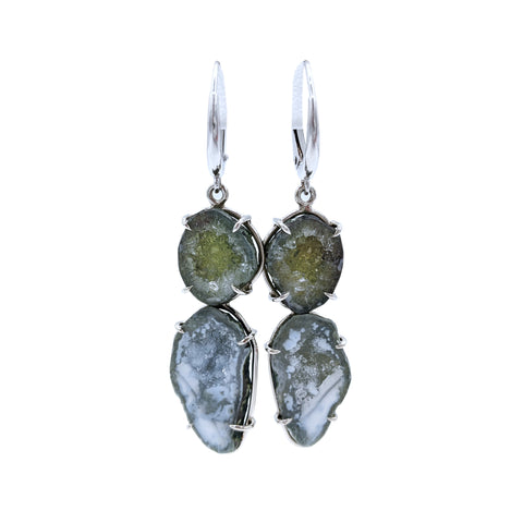 Olive Opulence Geode Earrings