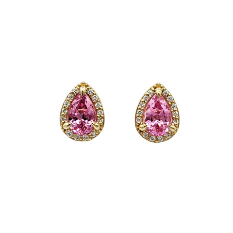 Pink Spinel Diamond Studs
