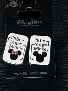 I'll be Your Minnie and I'll be Your Mickey 2 Pin Set New on Card