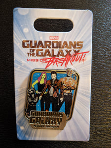 Guardians of the Galaxy Pin Featuring Rocket, Gamora, Star Lord, and Drax New on Card