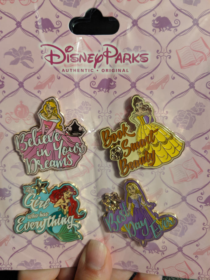 4 Pin Princess Booster Featuring Aurora, Belle, Ariel, and Rapunzel