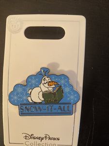 "Olaf From Frozen ""Snow it All"" Pin New on Card"
