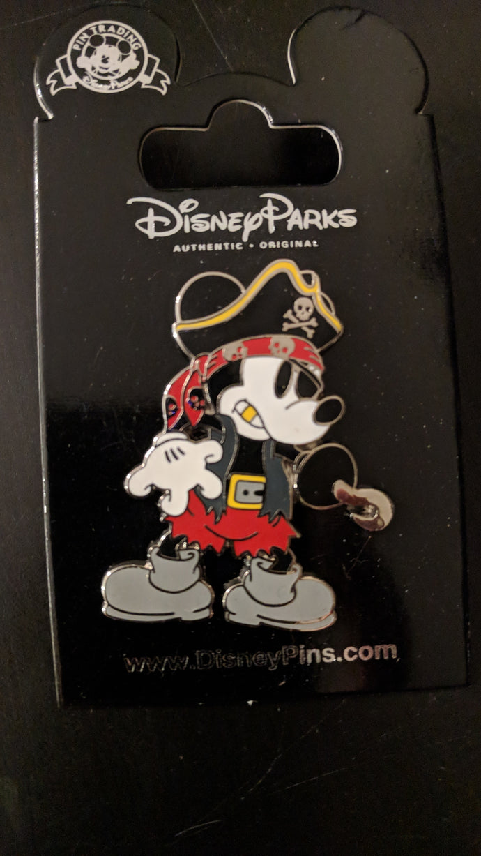 Pirate Mickey Pin New on Card