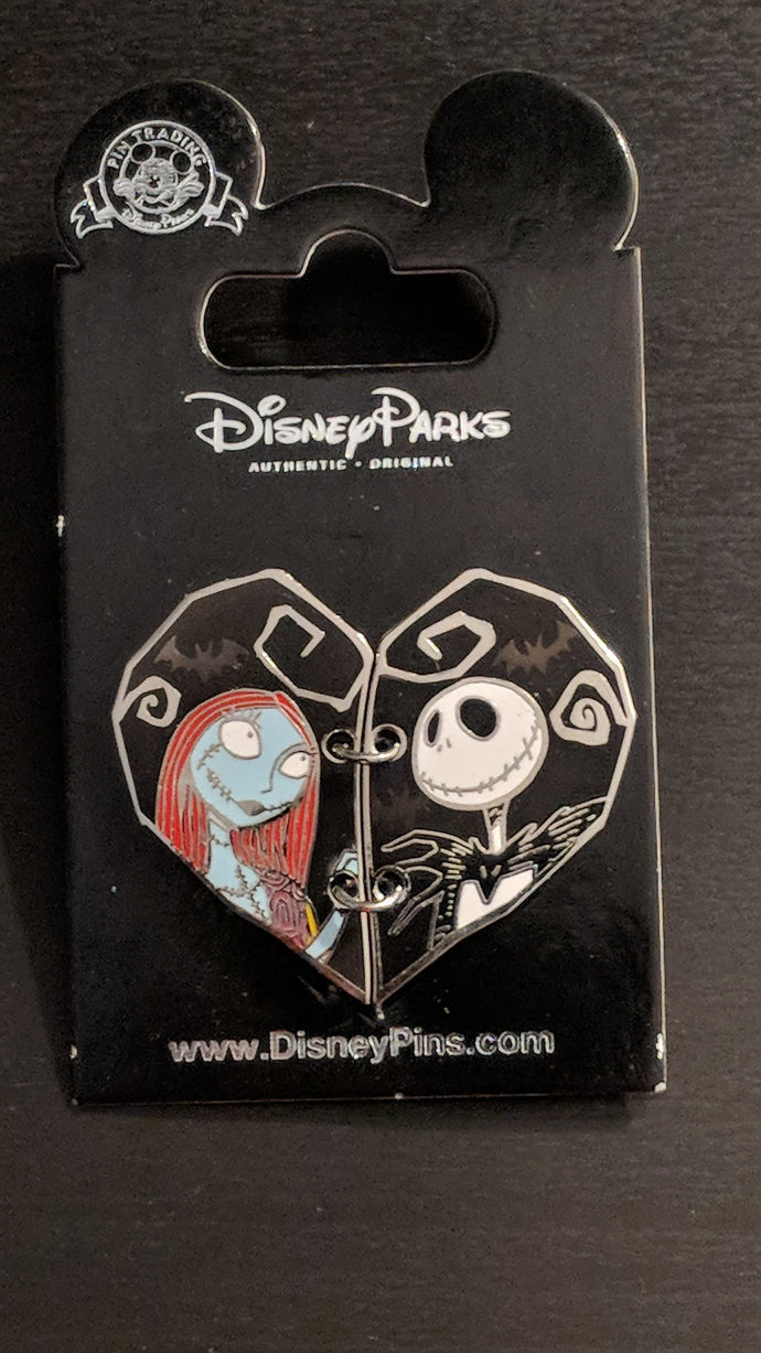Nightmare Before Christmas Jack and Sally Heart Pin New on Card