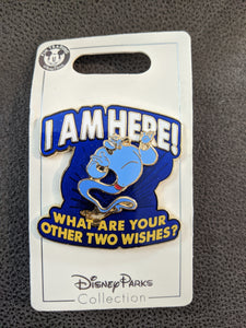 "Genie ""I am here! What are your other two wishes?"" Pin New on Card"