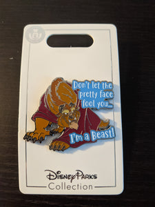 Don't Let the Pretty Face Fool You Beast Pin New on Card