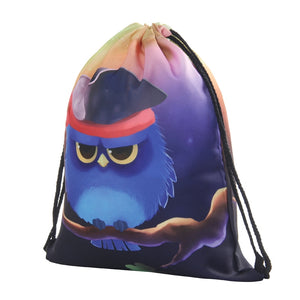 Fun Owl Drawstring Bag