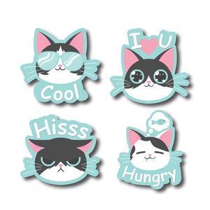 Pussy Cat Moods Expression | Set of 4 | Trendy Fridge Magnets