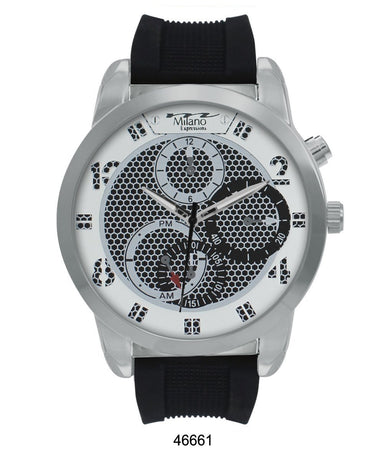 Milano Expressions Black Rubber Strap Watch with Silver Case and Silver Dial