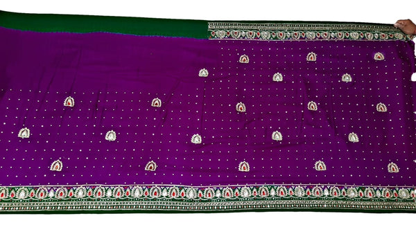 Magenta And Green Color Fancy Design Work Gaji Silk Bandhani Saree - KalaSanskruti Retail Private Limited