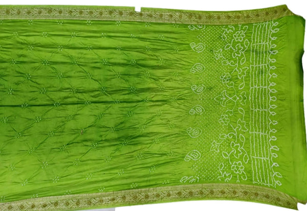 Green And Parrot Green Shaded Color Fancy Design Dupion Silk Bandhani Saree