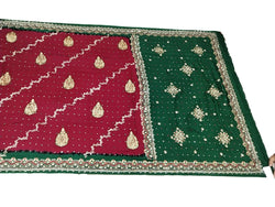 Maroon And Green Diamond Work Design Gaji Silk Bandhani Saree - KalaSanskruti Retail Private Limited