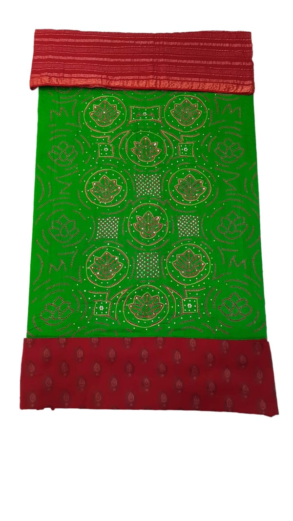 Parrot Green And Red Color Hand Work Design Cotton Satin Bandhani Dress Material