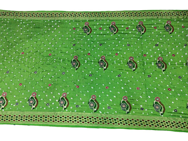 All Over Parrot Green Color Fancy Design Art Silk Bandhani Saree - KalaSanskruti Retail Private Limited